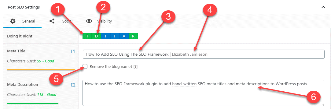 SEO Framework settings for a blog post